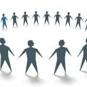 circle of paper cut out people